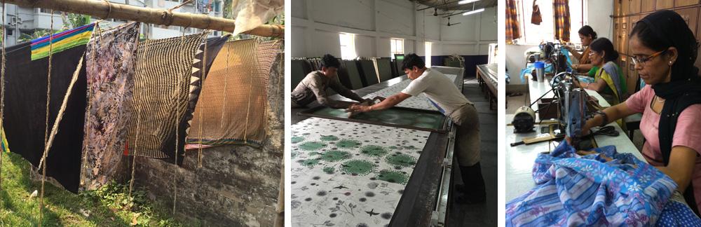 「サシャ」は手織り生地をつくるグループ、ブロックプリントやスクリーンプリントをするグループ、リサイクルサリー商品をつくるグループなどがある。