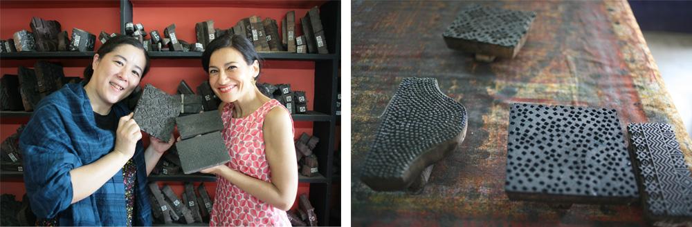 サシャで保管しているブロックプリントの木版の数々。伝統的な幾何学柄やエスニック柄がたくさん揃う。