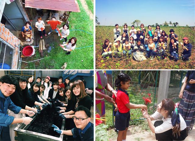 過去の「めぐる旅」ツアーより。左上から時計回りに、「スリランカで草木染め体験」「カンボジアオーガニックコットンの畑で収穫体験」「スリランカの子どもたちと」「岡山デニム工場で着古した服を藍染で復活」